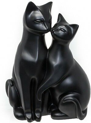 PAIR OF BLACK CATS ORNAMENT STYLIZED CAT FIGURINE - Ideal Gift For Cat Lovers 7