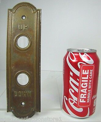 Antique Elevator Panel Up Down Bronze Brass bevel edge deco ornate orig embossed 12