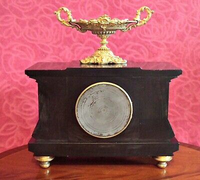 Antique French GS Medaille D'Or 1867 8-Day Striking Marble, Bronze Mantel Clock 10