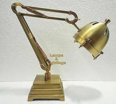 Antique Brass Banker's Library Desk Lamp, Steampunk Industrial Room Desktop Lamp