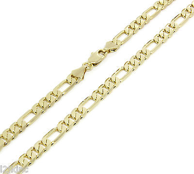 Mens 14k Gold Plated 5mm Italian Figaro Link Chain Necklace 24 Inches