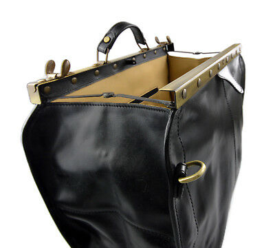 ... Borsone viaggio in pelle doctor bag con manici e tracolla borsa pelle  nero 4 332b7b64109