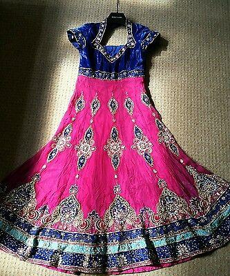 Shocking Pink & Royal Blue Heavy Jewelled  Diamante Work Shrara /wedding/party 4