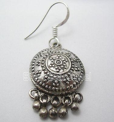 Antique Look Jewelry !! 925 Sterling Silver Plain ETHNIC Dangle Earrings 3.9 CM 2