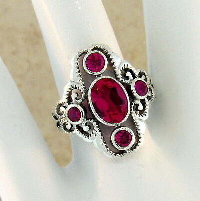 Antique Victorian Style Red Lab Ruby .925 Sterling Silver Ring Size 9,      #262 3