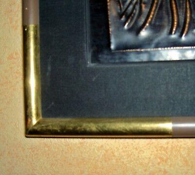 AFRICA/ART  ZAIRE    PIROGUE s/FLEUVE   panneau CUIVRE    CADRE & P.P   85x30 cm 3