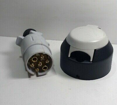 7 Pin Caravan Plug & Socket Plastic 12V 12S Trailer Towing Maypole MP31B & MP29B 2