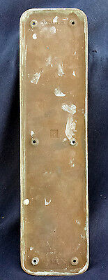 "4""x16"" Antique Sargent SOLID Cast Bronze Patina Door Push Cover Plate Escutcheon"