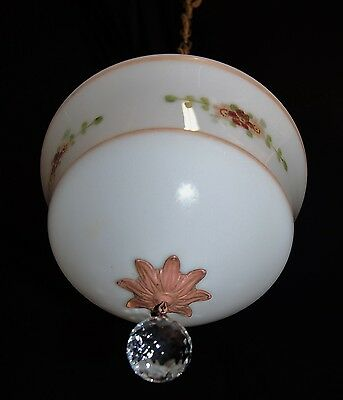 Art Deco Antique Pendant Swag Cherub Glass Shade Ceiling Fixture Chandelier 3