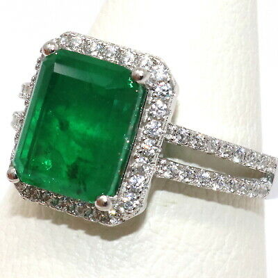 Details about  /Sparkling Natural Genuine Colombian Emerald Ring Women Wedding Birthday Jewelry