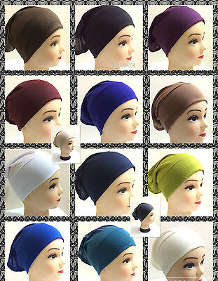 Women Ladies  Under Scarf Hijab Tube Bone  Bonnet Cap 14 Colours Stretchable 3