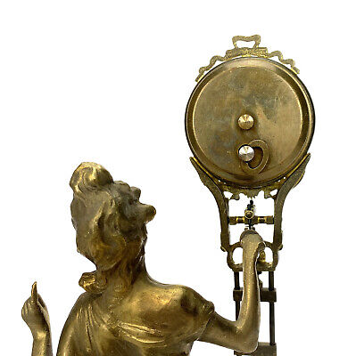 German Style Junghans Brass Diana Lady Figure 8 Day Swinging Swinger Clock 5
