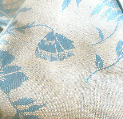 Antique Vtg French Vining Floral Linen Cotton Damask Ticking Fabric ~ Sky Blue