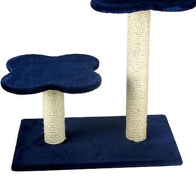 Blue Cat Kitten Scratching Post Tree Scratcher Activity Centre Sisal Pom Pom's