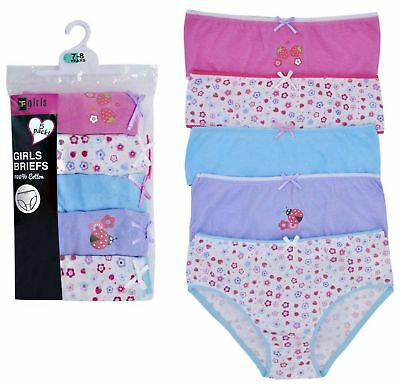 Girls 5 Pack Pairs Briefs Set Knickers Kids Multipack 100% Cotton Underwear Size 11