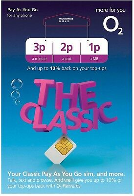 O2 Classic Sim Card  2G/3G/4G Pay As You Go  Standard Micro Nano 2