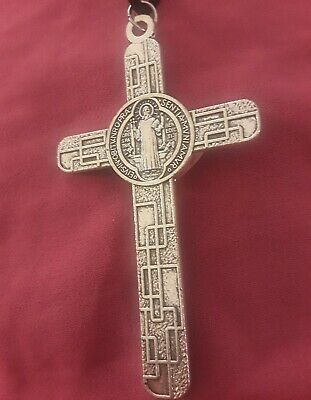 "LRG 3 1/8"" Sterling Silver Filled Modern St Benedict Crucifix Cross New Pendant 10"