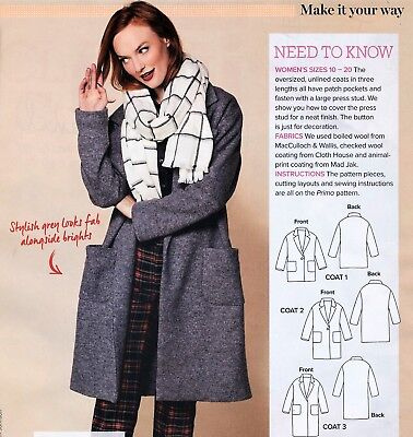 Oversize Winter Coat Jacket Unlined, Ladies Winter Coat Sewing Pattern