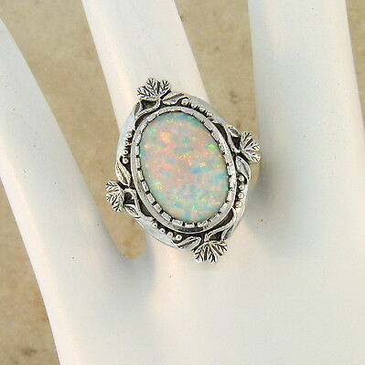 White Lab Opal Antique Victorian Design 925 Sterling Silver Ring Size 9, #222 3