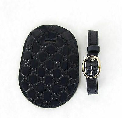 d29e4e0df8b ... New Authentic GUCCI Guccissima Leather Travel Luggage ID Tag Navy  295259 4009 3
