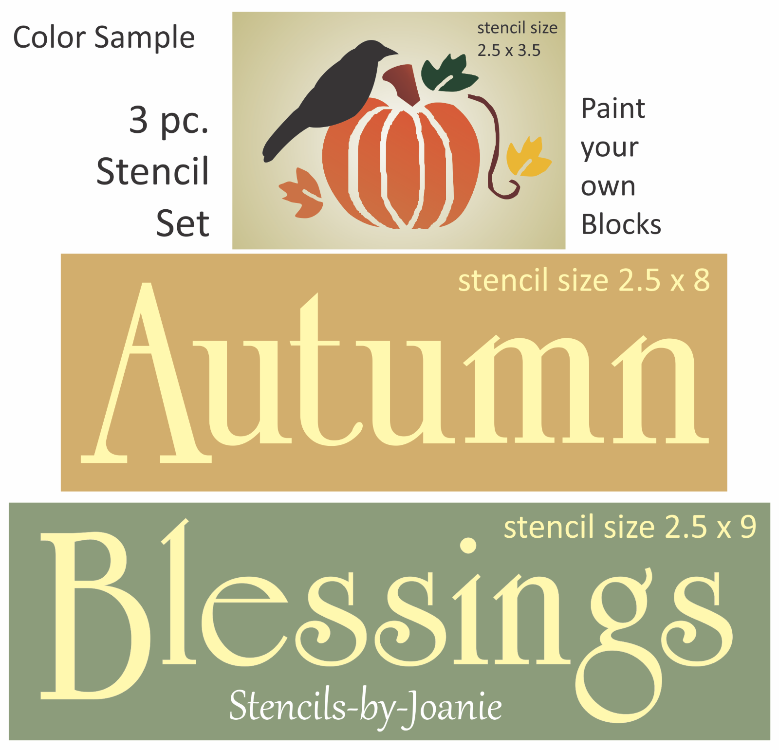 Joanie Stencil Harvest Blessings Primitive Pumpkin Fall Leaves Crow Sign Blocks