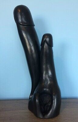 Huge Antique Wood Double Phallus Fertility Display Piece From Burma. 45cm High 2