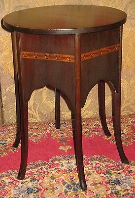 Vintage Mahogany Plant Stand Lamp Table Display Stool Round Top 6-Panel Sides 9