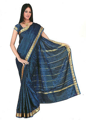 Sari Di Bollywood Vestito Arcobaleno Blu Reale