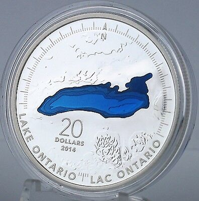 Canada 2014 Lake Ontario $20 1 oz Pure Silver Enameled Proof Coin Great Lakes #2 8