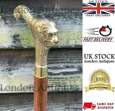 Classic Vintage Style Lion Head Handle Wooden Walking Stick Foldable Antique 4