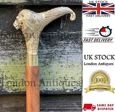 Classic Vintage Style Lion Head Handle Wooden Walking Stick Foldable Antique 5