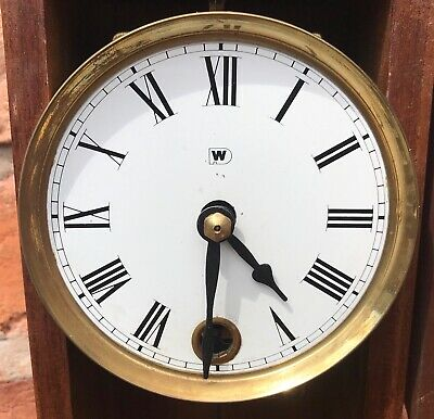 Beautiful Vintage Miniature Drop Dial Wall Clock In Wooden Case With Pendulum 8