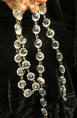 """35"""" vintage ITALY Crystal Glass Prism chain Lamp Chandelier sconce Part brass 3"""