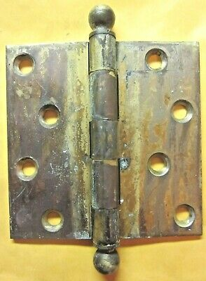 """1 Antique McKinney 4"""" Mortise Door Square Hinge Ball Tips Finials Brass Plated 6"""