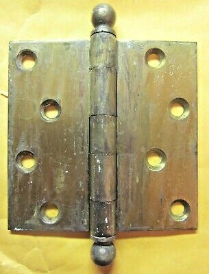 """1 Antique McKinney 4"""" Mortise Door Square Hinge Ball Tips Finials Brass Plated 5"""