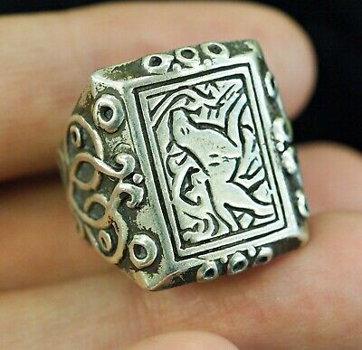 Antique intaglio Signet Tiger  Walking in a jungle Sterling Silver Power Ring 7