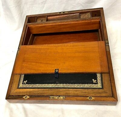 Antique Victorian Walnut & Brass Campaign Writing Box Slope SECRET DRAWERS 9