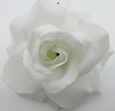 "3/"" Sheer White Dewdrop Rose Silk Flower Brooch Pin Dance, Wedding Prom"