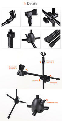 Professional Boom Tripod Microphone Mic Stand Holder Adjustable Black + 2 Clips 9
