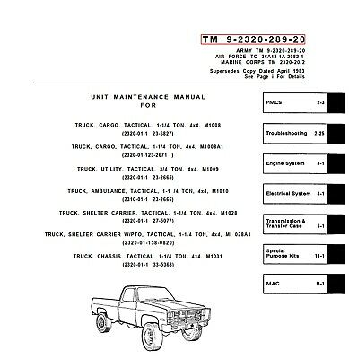 CHEVROLET CUCV M1008, M1009, M1010, M1028 & M1031 Manuals on ... on
