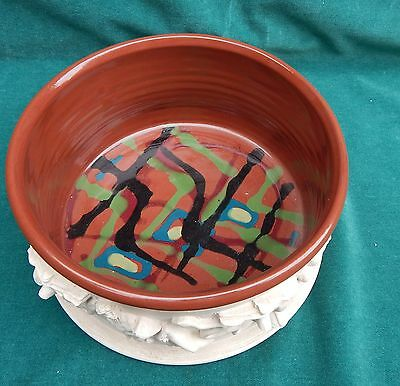 Magnificent Pottery Bowl With Roman Figurines Signed By Shawn RARE