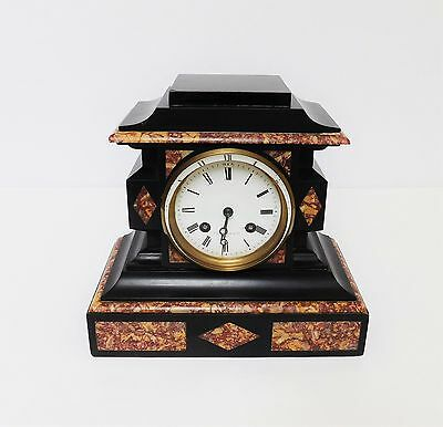 A Delightful Victorian French Made Black Slate & Marble Mantle Clock - T Simpson 2