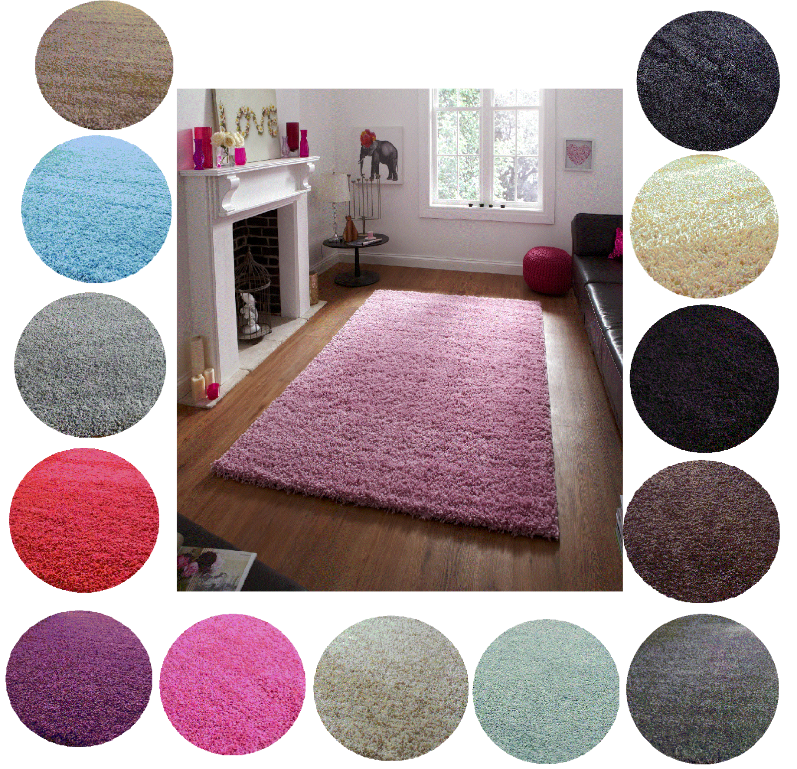 SHAGGY RUG 5cm HIGH PILE SMALL EXTRA LARGE THICK SOFT LIVING ROOM FLOOR BEDROOM 2