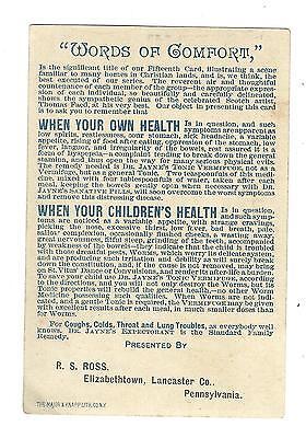 Old Trade Card Dr Jaynes Tonic Vermifuge Words Comfort Ross Elizabethtown PA 2
