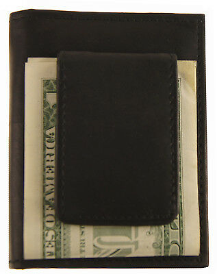 fa3a34ef8cee AG WALLETS BLACK MAGNET MONEY CLIP Bifold FRONT POCKET Outside ID Leather  Wallet