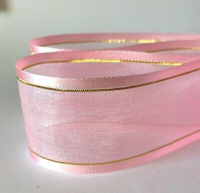 2-10m  Plain & With Gold Stripe Woven Edge Organza Sheer Chiffon Wedding Ribbon 10