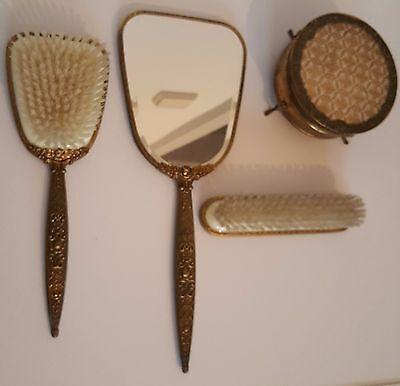 Frisierset Pelon Messing Spiegel Haarbürste Kleiderbürste Dose 4 Teilig 50-60er 2