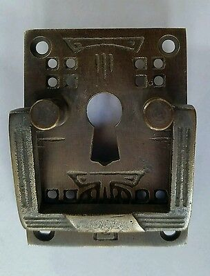 """4 Antique Style Arts and Crafts Mission Brass Handles Pull w. escutcheon 2"""" #H27 2"""