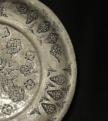 1700's. Antique Islamic Ottoman Tin Plated Copper Plate, Hand Hammered 3