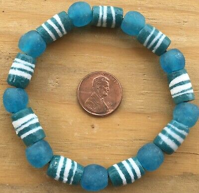 Handmade Ghana Fancy Teal Green multi bracelet-African Trade Beads-Ghana 4